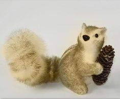 DUE ESSE Vianočná veverička so šiškou, 18 cm, hnedá-typ 1