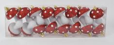 DUE ESSE Set 16 ks vánočních ozdob - muchomůrky, 7 cm, červená/bílá