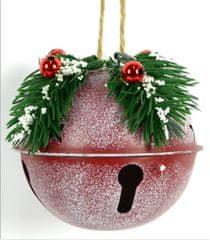 DUE ESSE komplet 4 božičnih bunkic z vejico premer 9 cm, rdeča