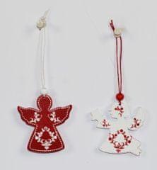 DUE ESSE 12 darabos készlet, angyal karácsonyi dekoráció, 6 db piros, 6 db fehér