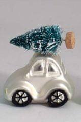 DUE ESSE auto z choinką 8 cm, srebrny