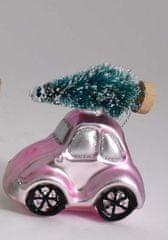 DUE ESSE auto z choinką 8 cm, różowy