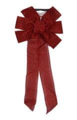 DUE ESSE świąteczna dekoracja czerwona kokarda z brokatem, 55 cm