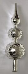 DUE ESSE Üvegből készült karácsonyfa csúcsdísz - ezüst, 30 cm