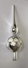 DUE ESSE Üvegből készült karácsonyfa csúcsdísz - ezüst, 33 cm