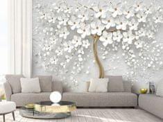 Murando DeLuxe 3D tapeta bílý strom s květy Rozměry (š x v) a Typ: 392x280 cm - samolepící
