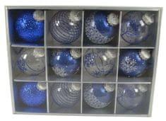 DUE ESSE 12 db-os kék karácsonyi gömb készlet, Ø 8 cm