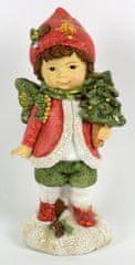 DUE ESSE dekoracja świąteczna chłopiec z choinką, 14 cm