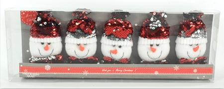 DUE ESSE komplet 5 wiszących, cekinowych ozdób świątecznych, bałwanek zmieniający kolory