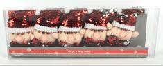 DUE ESSE komplet 5 wiszących, cekinowych ozdób świątecznych, elf zmieniający kolory