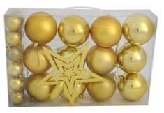 DUE ESSE komplet 25 bombek choinkowych z gwiazdą, dwa rozmiary, dwa rodzaje mat / połysk, złoto
