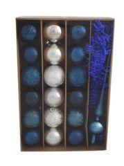 DUE ESSE komplet božičnih bunk s špico in trakom, modro/srebrne, Ø 6 cm, 18 kosov