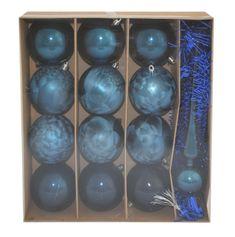 DUE ESSE komplet božičnih bunk s špico in trakom, modre, Ø 8 cm, 12 kosov
