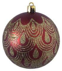 DUE ESSE 6 db karácsonyi gömb készlet, piros/arany arany motívummal, Ø 8 cm