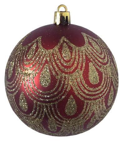 DUE ESSE komplet božičnih bunk, rdečo/zlate z zlatim motivom, Ø 8 cm, 6 kosov