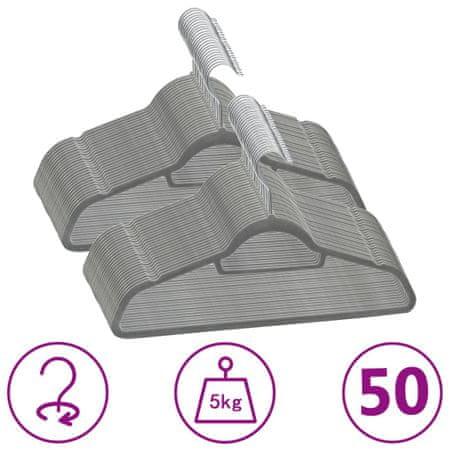 shumee 50 db szürke csúszásmentes bársony ruhaakasztó