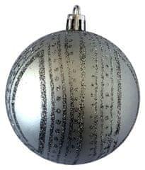 DUE ESSE komplet 6 bombek choinkowych, niebiesko-srebrne, ze srebrnym motywem, Ø 8 cm