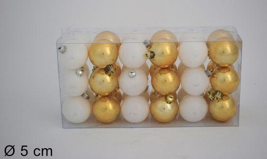 DUE ESSE Set 36 ks vánočních koulí, zlatá/bílá, Ø 5 cm