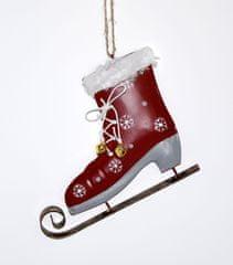 DUE ESSE Božićni ukras - klizaljka, crvena, 14 cm