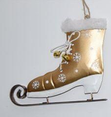 DUE ESSE božični okrasek - drsalka, zlata, 14 cm