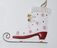DUE ESSE božični okrasek - drsalka, bela, 14 cm