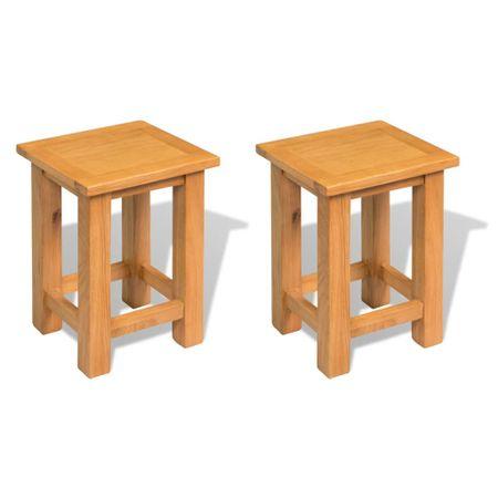 shumee 2 db tömör tölgyfa kisasztal 27 x 24 x 37 cm