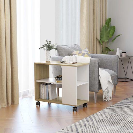 Príručný stolík biela a dub sonoma 70x35x55 cm drevotrieska