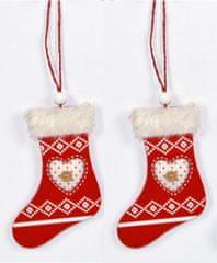 DUE ESSE ozdoba świąteczna drewniane skarpety z sercem, czerwone, 2 szt.