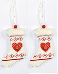 DUE ESSE ozdoba świąteczna drewniane skarpety z sercem, białe, 2 szt.