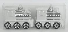 DUE ESSE komplet 2 božičnih okraskov lokomotiva, srebrna