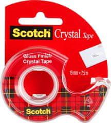 3M Scotch Crystal lepilni trak, 19 mm x 7,5 m, prozoren + stojalo za lepilni trak