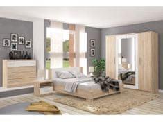 Ložnice KABIR 2 s postelí 180x200 cm, dub sonoma/bílá