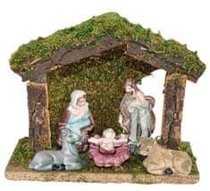 DUE ESSE ozdoba drewniana szopka bożonarodzeniowa z 5 figurkami, 16 x 13 x 7 cm