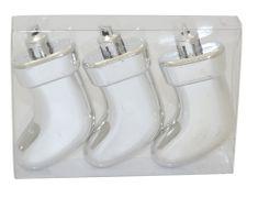 DUE ESSE zestaw 3 ozdób choinkowych - buty, srebrne, 7,5 cm