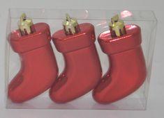 DUE ESSE zestaw 3 ozdób choinkowych - buty, czerwone, 7,5 cm