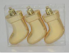 DUE ESSE zestaw 3 ozdób choinkowych - buty, złote, 7,5 cm
