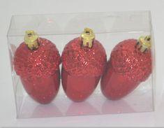 DUE ESSE zestaw 3 ozdób choinkowych - żołędzie, czerwone, 8 cm