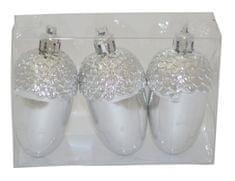 DUE ESSE zestaw 3 ozdób choinkowych - żołędzie, srebrne, 8 cm