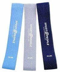 Sport2People elastike za vadbo, bombažne, 3 kosi, modre
