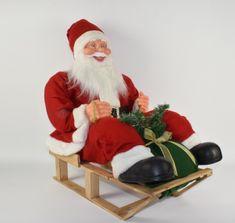 DUE ESSE Santa na saních, 65 x 60 x 45 cm, svítí