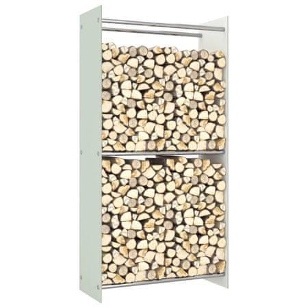 shumee Stojak na drewno opałowe, biały, 80x35x160 cm, szklany