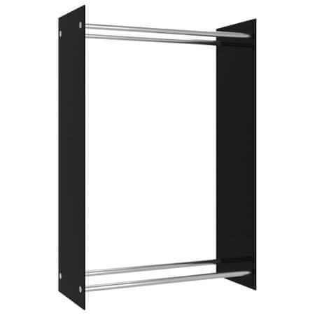 shumee Stojak na drewno opałowe, czarny, 80x35x120 cm, szklany