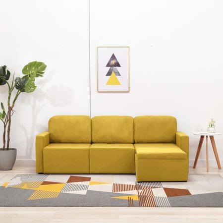 slomart Trosed modularni kavč z ležiščem rumen iz blaga