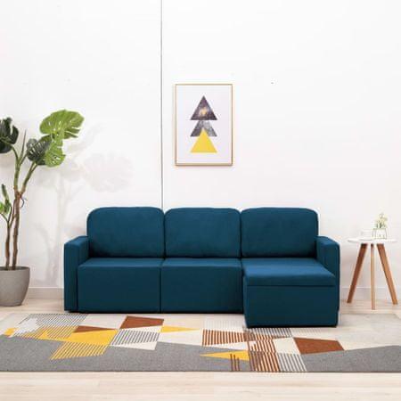 slomart Trosed modularni kavč z ležiščem moder iz blaga