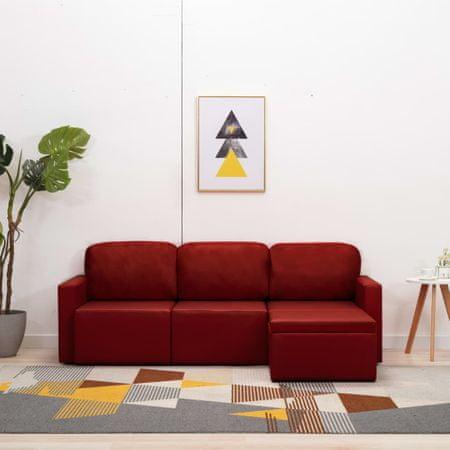 shumee 3-osobowa, rozkładana sofa modułowa, czerwona, sztuczna skóra