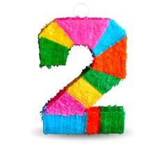 """Piňata číslo """"2"""" farebná - rozbíjacia"""