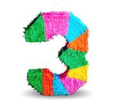"""Piňata číslo """"3"""" farebná - rozbíjacia"""