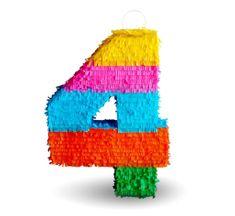 """Piňata číslo """"4"""" farebná - rozbíjacia"""