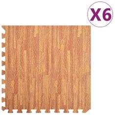 Podložka puzzle štruktúra dreva 6 ks 2,16㎡ EVA pena