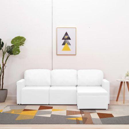 shumee 3-személyes fehér műbőr elemes kanapé